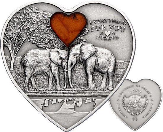 """Picture of Памятная монета в виде сердца """"Слоны"""" серии """"Все для тебя"""""""