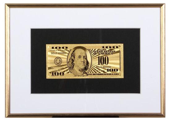 Picture of Позолоченная  банкнота в рамке 100 долларов