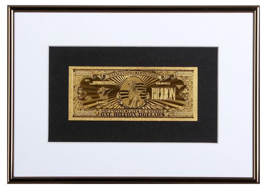 Picture of Позолоченная  банкнота в рамке один миллиард  долларов