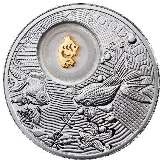 """Picture of Серебряная «Монета к счастью. Золотая рыбка»GOOD LUCK"""""""