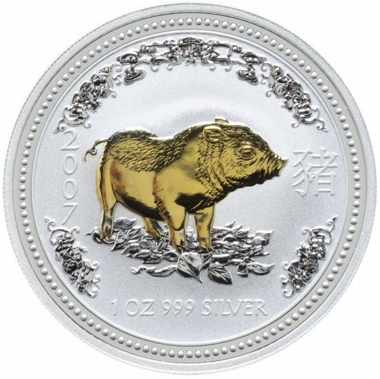 "Picture of Серебряная монета ""Год Свиньи"" Lunar 1 Series, с позолотой 1 доллар. Австралия. 31,1 грамм"