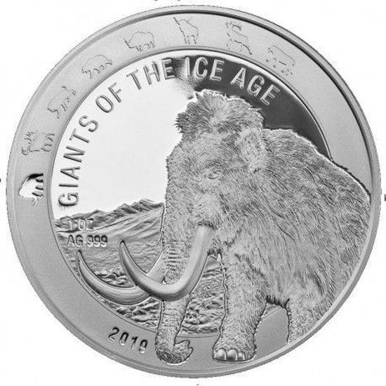 """Picture of Серія монет """"Гіганти Льодовикового періоду на Землі"""" Мамонт 31,1 грам, """"GIANTS of the ICE AGE- MAMMOTH"""" 2019"""