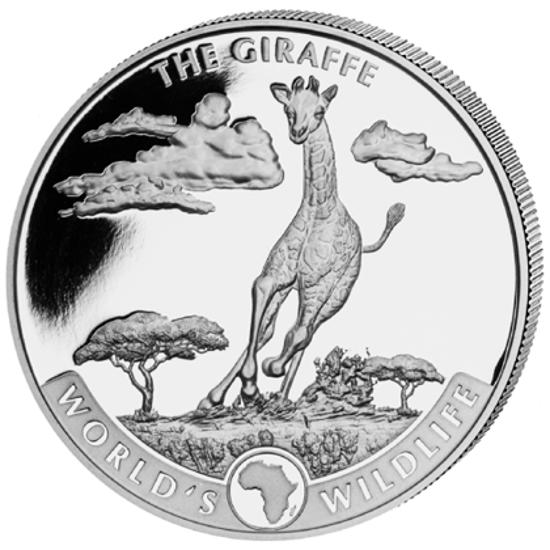 "Picture of Дикая природа мира Конго ""World's Wildlife - The Giraffe"" жираф 20 francs, 1 oz Silver"