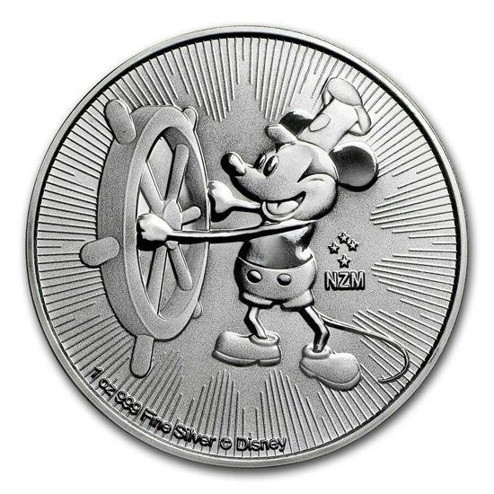 "Picture of Steamboat Willie Mickey Mouse ""Пароход Disney Вилли"" Серебряная монета, 31.1 грамм"
