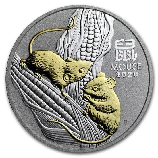 """Picture of Cеребряная монета Австралии  с позолотой """"Lunar III - Год Крысы"""", 31,1 грамм, 2020 г."""
