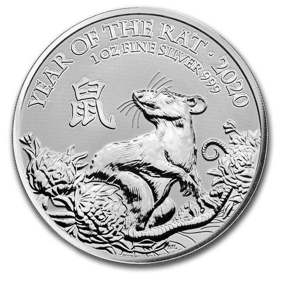 """Picture of Серебряная монета """"Год Крысы 2020"""" 1 унция Великобритания"""