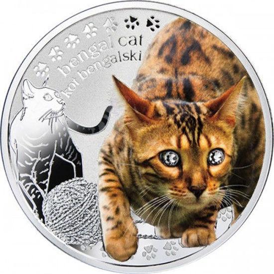 """Picture of Серебряная монета """"Бенгальская кошка"""" серия Лучшие друзья человека - кошки"""