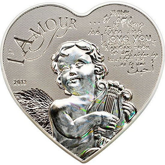 "Picture of Серебряная монета в форме сердца ""Любовь - Ангел"" Камерун"