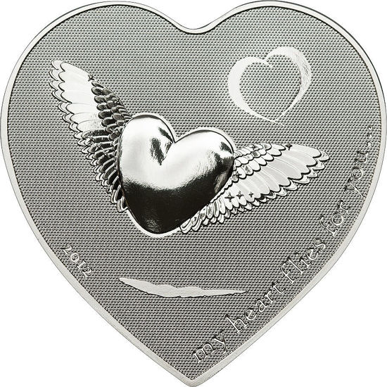 """Picture of Серебряная монета в форме сердца """"Моё сердце летит за тобой """" Палау"""