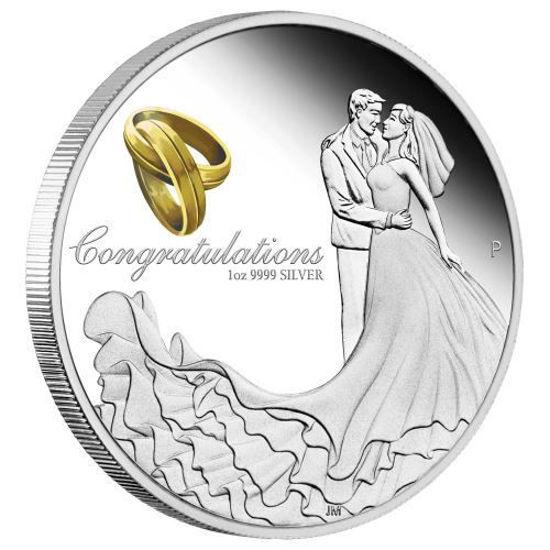 """Picture of Срібна монета """"Вітання на весілля"""" 1 унція"""