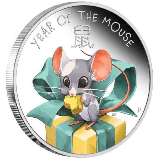 """Picture of Срібна монета """"Рік миші - мишеня"""" 1/2 унції"""