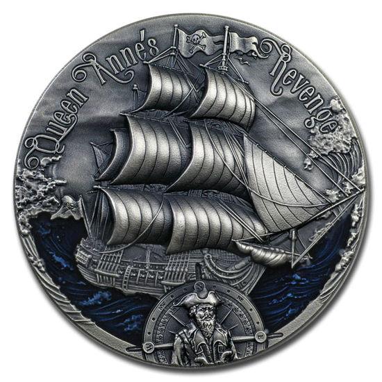 """Picture of Срібна монета """"Помста королеви Анни """"  2 унції республіка Камерун Корабель"""