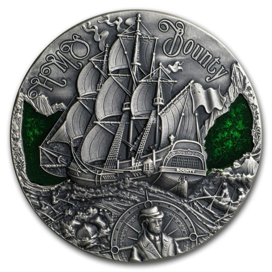 """Picture of Серебряная монета """"Корабль Его Величества «Баунти» """" 2 унции Республика Камерун"""