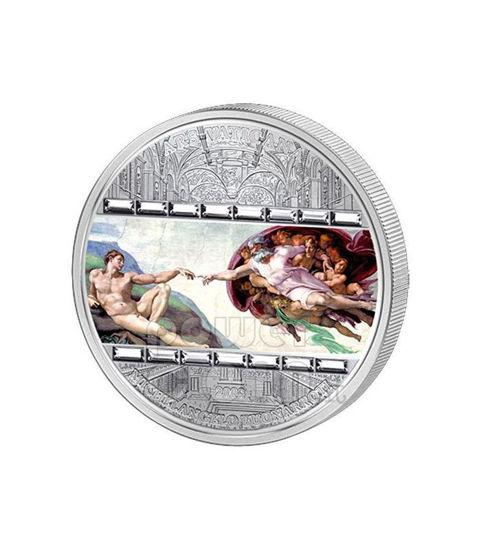 """Picture of Срібна монета """"Створення Адама - Мікелянджело"""" серії Шедеври мистецтва 2008 рік 20$ Острова Кука"""