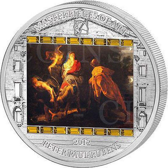 """Picture of Серебряная монета """"Бегство в Египет - Рубенс"""" серии Шедевры искусства 2012 год 20$ Острова Кука"""
