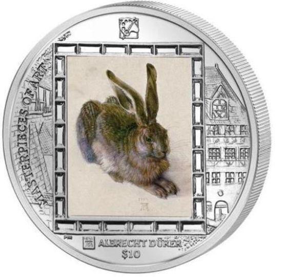 """Picture of Серебряная монета """"Альбрехт Дюрер - Молодой заяц"""" 31,1 грамм  2011 Виргинские острова"""