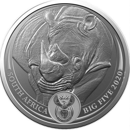 "Picture of Носорог серебряная монета серии ""Большая пятерка"" 31,1 грамм, Южная Африка 2020г."