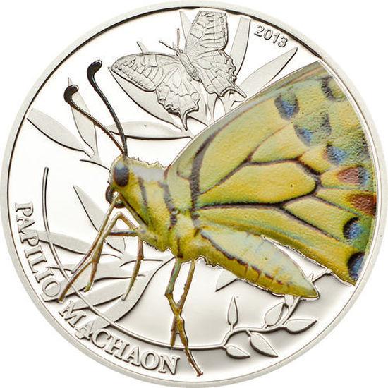"""Picture of Срібна монета """"Метелик махаон"""" серія Світ комах 15,5 грам, Палау 2013 р"""