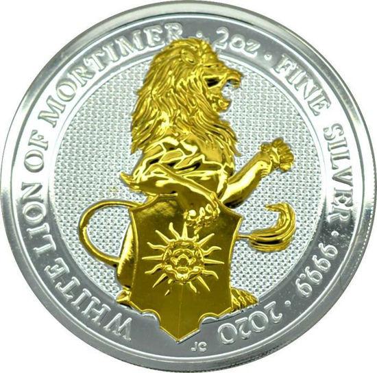 """Picture of Серія Звірі Королеви срібло з позолотою """"Білий Лев Мортімера"""" 62,2 грам, VIII / X The White Lion of Mortimer, Великобританія 2020"""