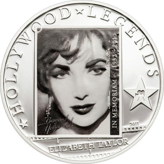 "Picture of Серебряная монета ""Элизабет Тейлор"" серия Голливудские легенды, 2011 г."