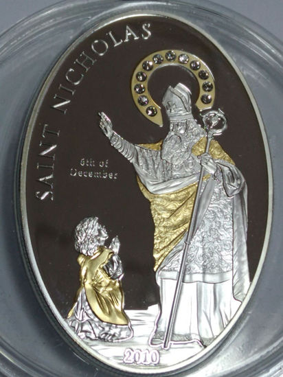 """Picture of Срібна монета """"Святий Миколай"""" 5 $ Острови Кука 2010"""