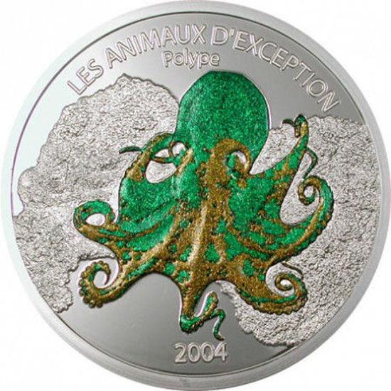 "Picture of Срібна монета ""Восьминіг"" 25 грам, Конго 2004 р"