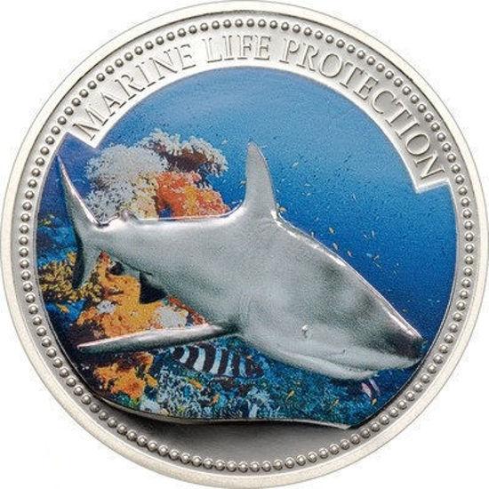 """Picture of Серебряная монета """" Морская жизнь - Акула"""" 25 грамм, Палау 2008 г."""
