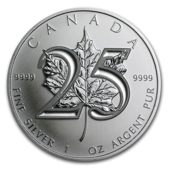 "Picture of Серебряная монета ""Кленовый Лист  25-летие "" 31,1 грамм Канада 2013 г."