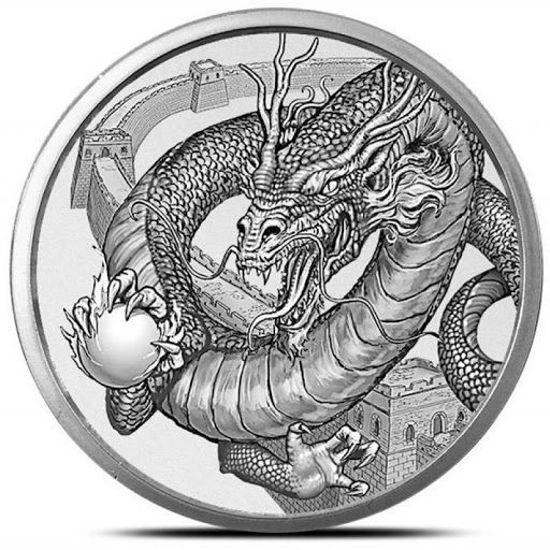 """Picture of Серебряный раунд  """"Мир Драконов - Китайский Дракон""""  31.1 грамм"""