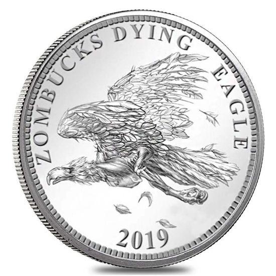 """Picture of Срібний раунд """"Зомбі валюта апокаліпсису - Вмираючий орел"""" 31.1 грам"""
