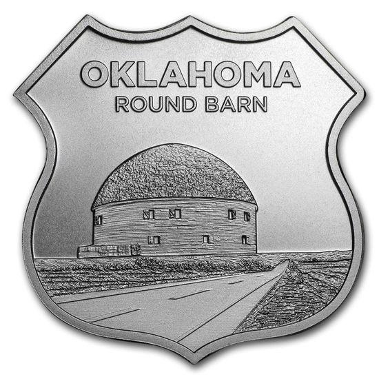 """Picture of Срібний раунд """"Ікони Маршруту 66 - Оклахома"""" (ROUTE 66)  31,1 грам"""