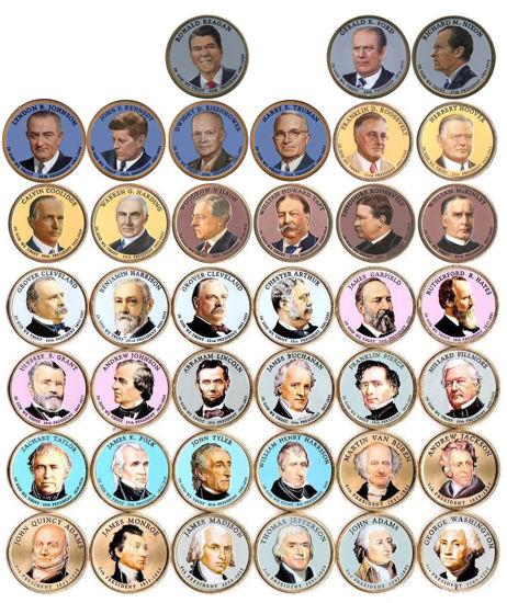 """Picture of США 1 доллар 2006-2016, Набор 39 монет """"Серия Президентов"""" . Цветная эмаль, односторонняя"""