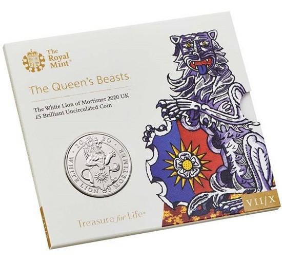 Picture of Англія, Великобританія 5 фунтів 2020. Білий Лев Мортімера. Серія Звірі Королеви