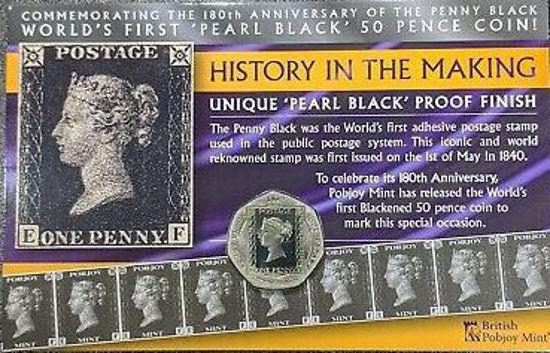Picture of Гибралтар 50 пенсов 2020, 180 лет первой почтовой марки: Черный пенни