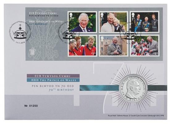 Picture of Англия, Великобритания, 5 фунтов 2018 70 лет со дня рождения Принца Чарльза. Конверт Первого Дня