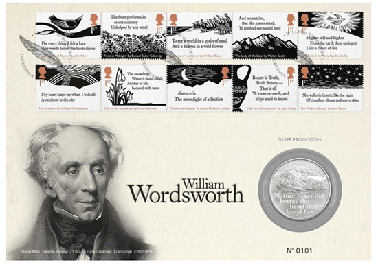 Picture of Англія, Великобританія, 5 фунтів 2019 250 років від дня народження Вільяма Вордсворта. Конверт першого дня. Proof, Срібло