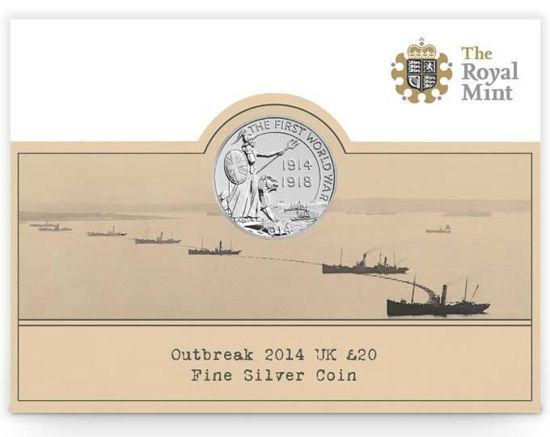 Picture of Англия, Великобритания, 20 фунтов 2014, Первая Мировая война. Серебро 15,71 гр. Блистер