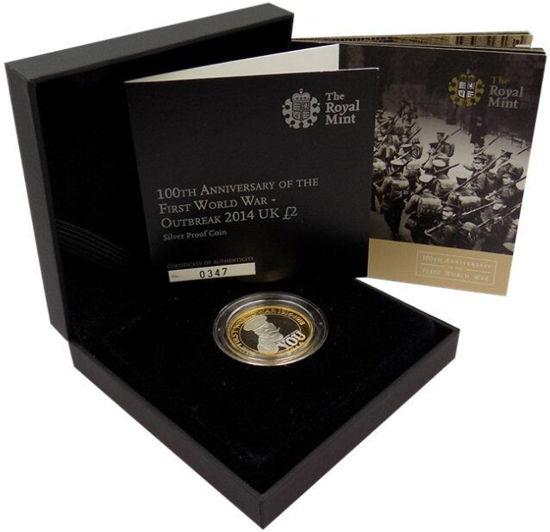 """Picture of Англия, Великобритания, 2 фунта 2014 """"100 лет Первой мировой войны"""". Серебро 12 гр."""