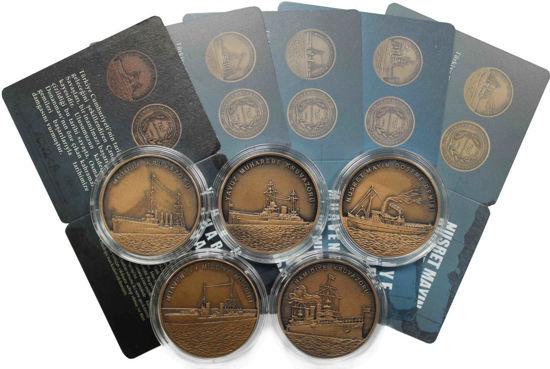 """Picture of Турция 2,5 лиры 2015, Набор из 5 монет """"Турецкие боевые корабли Первой мировой войны"""""""