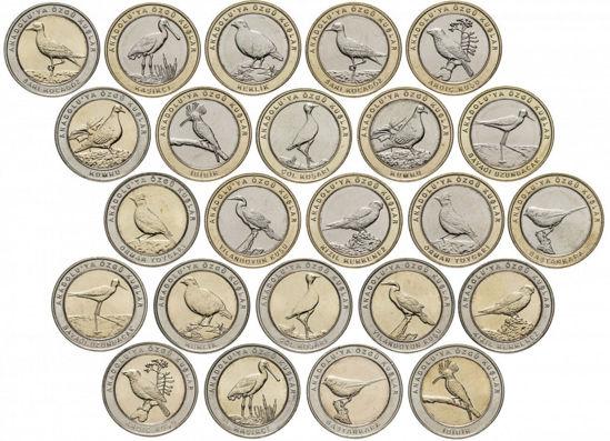 "Picture of Туреччина 1 куруш 2019, Набір з 24 монет ""Червона Книга Туреччини. Птахи"""