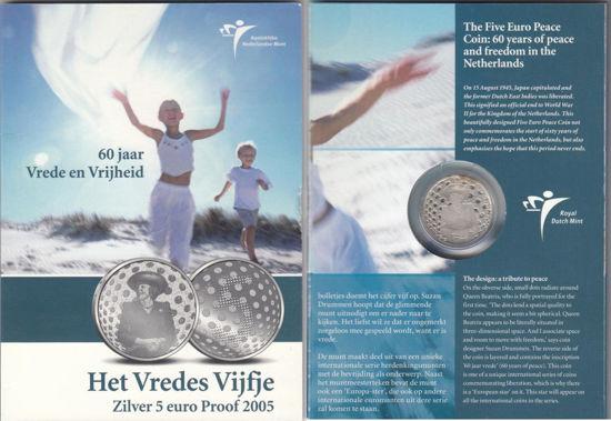 Picture of Нидерланды 5 евро 2005, 60 лет Освобождения. Серебро 11,9 гр. Proof