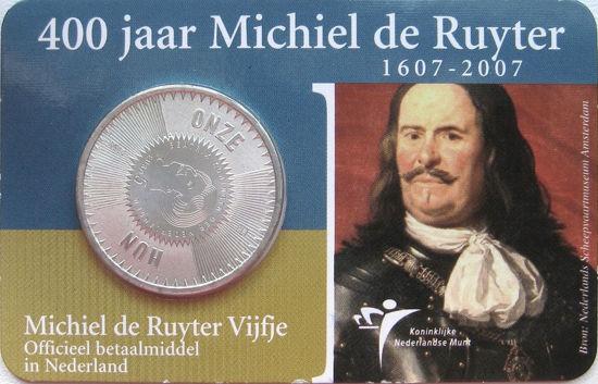 Picture of Нидерланды 5 евро 2007, 400 лет со дня рождения Михаила Адриансзона Рюйтера. Серебро 11,9 гр. Proof
