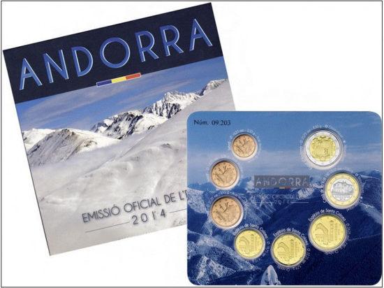 Picture of Андорра Річний набір монет євро 2014 (8 монет в буклеті)