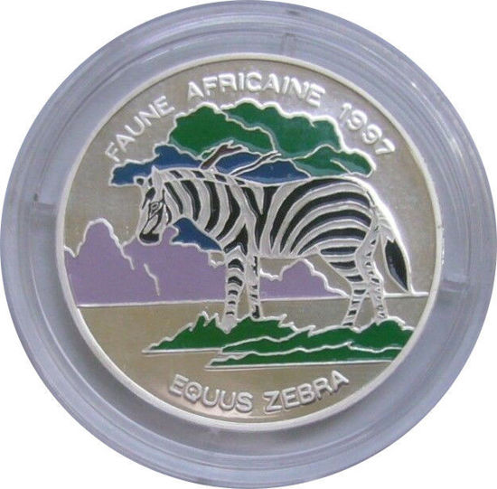 Picture of Бенін 1000 франків КФА 1997, Фауна Африки. Гірська зебра. Срібло
