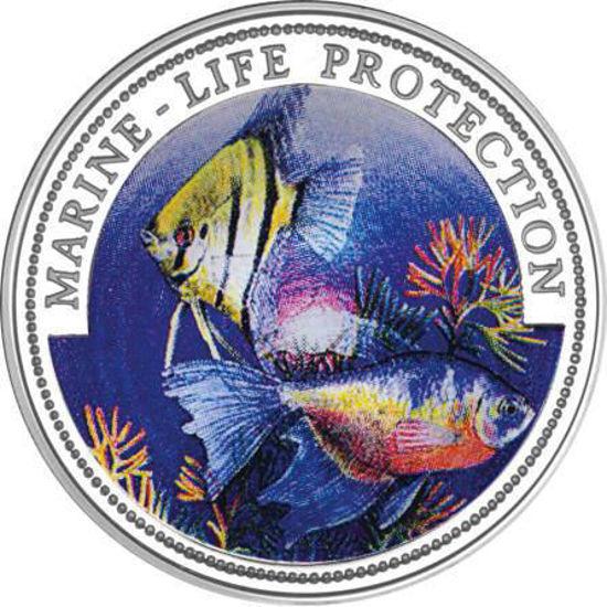 """Picture of Либерия 5 долларов 1996, Скалярная и боевая рыба, Серия """"Защитим морской мир"""". Серебро 25 гр."""