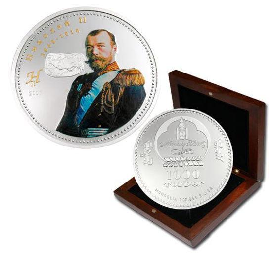 "Picture of Монголия 1000 тугриков 2007, Николай ІІ, Серия ""Русские Цари"". Серебро 62,2 гр."