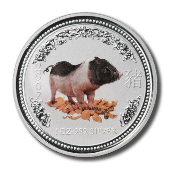 "Picture of Серебряная цветная монета ""Год Свиньи"" Lunar 1 Series, 1 доллар. Австралия 31,1 грамм"