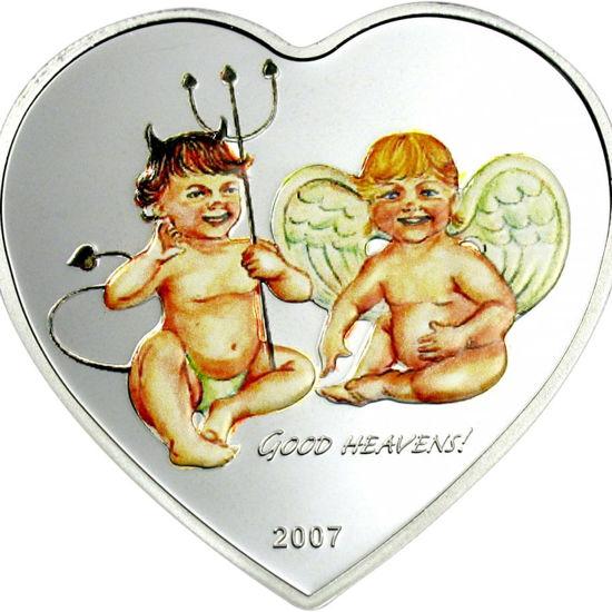 "Picture of Серебряная монета в виде сердца  ""Ангел и дьявол"" 25 грамм"