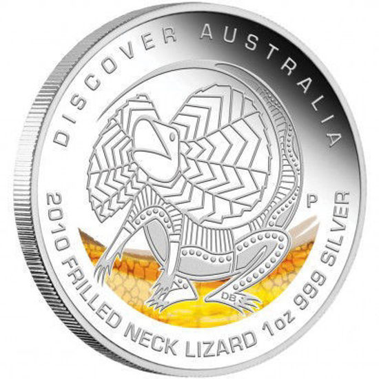 "Picture of Серебряная цветная монета ""Плащеносая ящерица"" Австралия 2010 31.1 грамм"