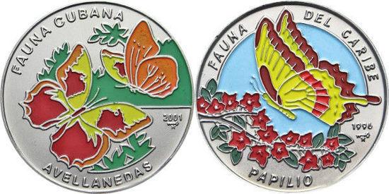 "Picture of Куба 1 песо 1996-2001, Набір з 2 монет ""Метелики ""Серія ""Фауна Карибів"""